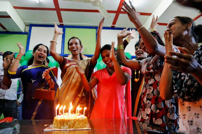Trans Indians celebrate after the Supreme Court's landmark verdict. Photo via MSNBC.