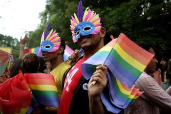 A gay pride parade in Delhi. Photo via Mint.